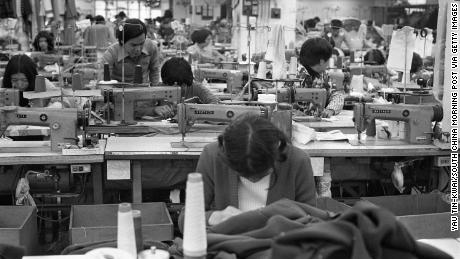 The Hollywood Knitwear Factory at Kwun Tong in the 1970s, when the textile industry in Hong Kong was booming.