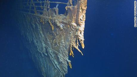 The Titanics rests about 12,000 feet down in the North Atlantic Ocean.