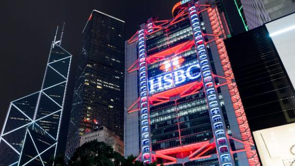 Skyscraper in Hong Kong at night. Hong Kong is an autonomous territory on the southern coast of China at the Pearl River Estuary and the South China Sea.