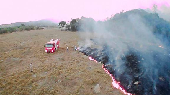 In this Aug. 20, 2019 drone photo released by the Corpo de Bombeiros de Mato Grosso, brush fires burn in Guaranta do Norte municipality, Mato Grosso state, Brazil.