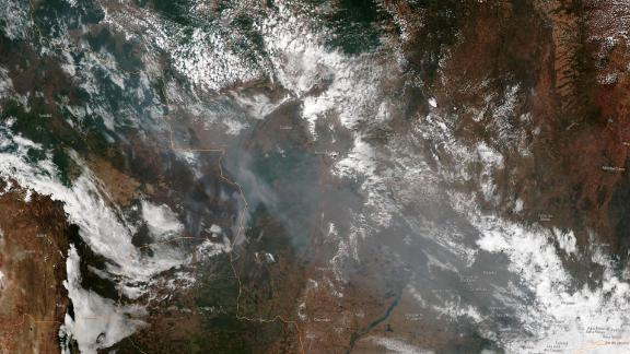 A satellite image of smoke from several fires in the Amazon rainforest burning in two Amazonian states on Wednesday.