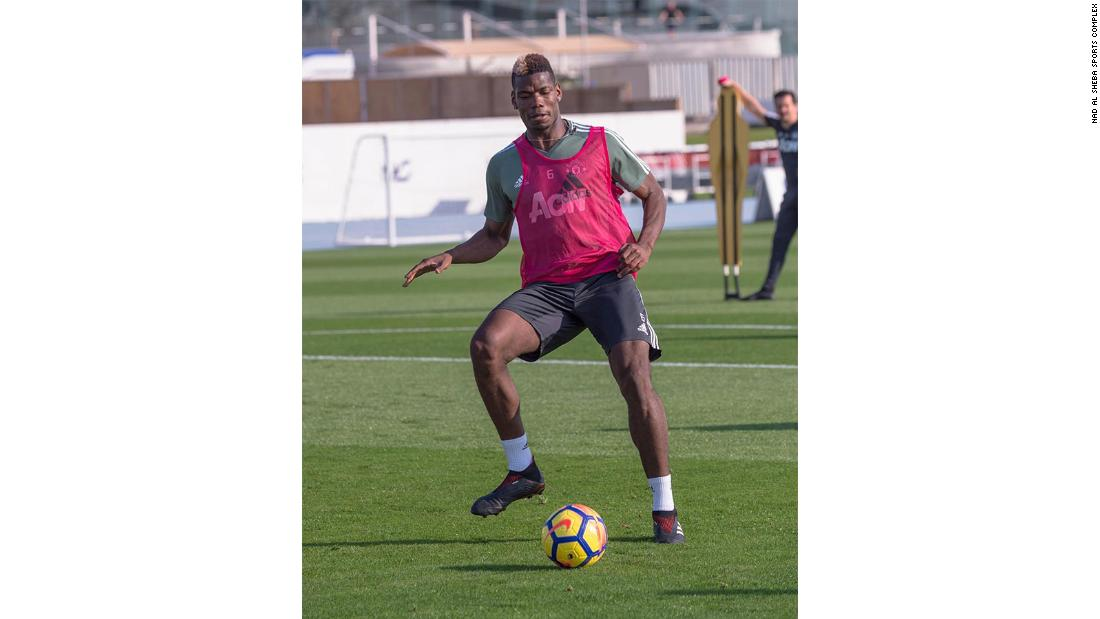 Manchester United's Paul Pogba in a training session at the complex. Warm-weather training is one of the major uses of the NAS for European teams. Manchester United have visited in consecutive winters. Arsenal, Liverpool, Real Madrid, AC Milan, and Borussia Dortmund have also spent time here in recent years.