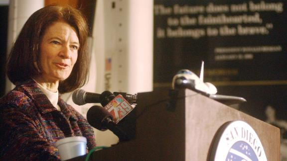 Sally Ride speaks to the media at the San Diego Aerospace Museum in February 2003.