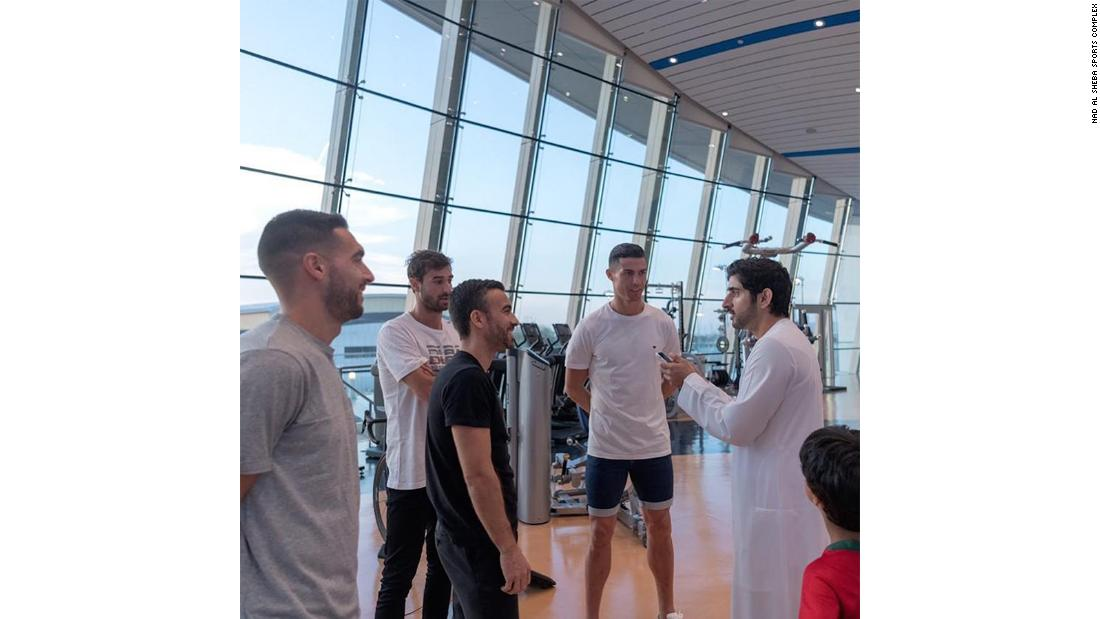 Five-time world footballer of the year Cristiano Ronaldo of Serie A club Juventus checks out the NAS gym in the company of the Crown Prince of Dubai Sheikh Hamdan bin Mohammed. 4 January.