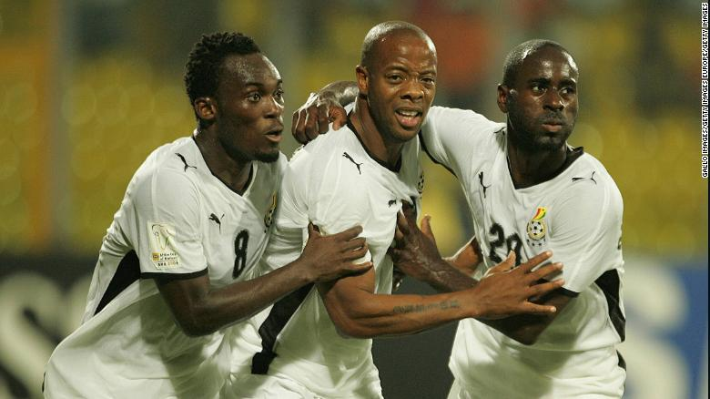 Michael Essien, Manuel Junior Agogo and Quincy Abeyie Owusu celebrate Agogo's goal in the Africa Cup of Nations third place match in 2008.