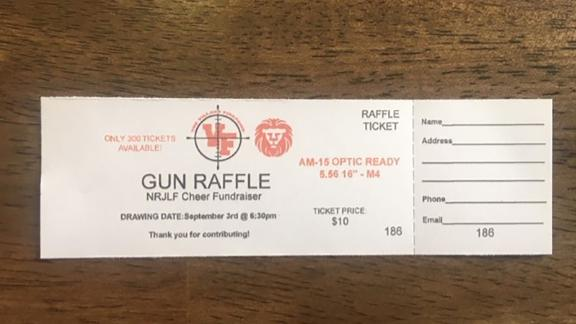 Members of a cheerleading league were asked to sell raffle tickets for a prize of a semi-automatic rifle.