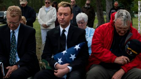 Kyle Haines organized a funeral with military honors for his husband in Alanson, Michigan, in September 2018.