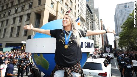 Julie Ertz celebrates during the U.S. Women's national team victory parade