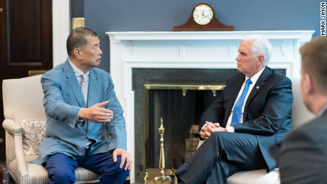 Jimmy Lai met with US Vice President Mike Pence in July 2019.