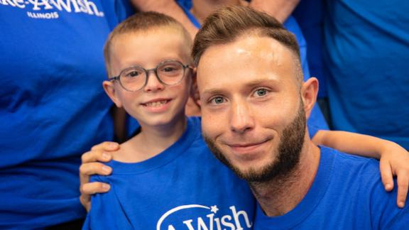 Bone marrow transplant patient Gabriel Smith, seven, of Springfield, Illinois, with his bone marrow donor Dennis Gutt, of Kappeln, Germany met at SIU School of Medicine as part of Gabriel's Make A Wish request.