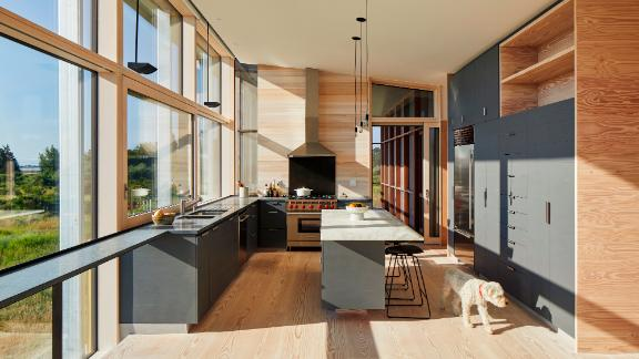 Wall-to-wall windows inside the Cohen's house offers plenty of access to the outdoors.