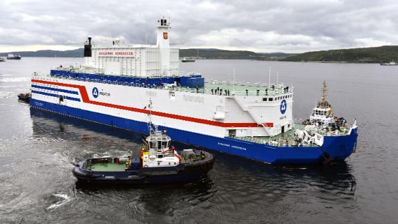 MURMANSK, RUSSIA - AUGUST 23, 2018: The Akademik Lomonosov, a barge containing two nuclear reactors, is pictured in Murmansk during its departure for Pevek, Chukotka Autonomous Area, on Russia's Arctic coast where it will function as a nuclear power station; built at St Petersburg's Baltic Shipyard, the Akademik Lomonosov was towed in 2018 from the Baltic Sea to an Atomflot base in Murmansk on Russia's Barents Sea coast to be loaded with nuclear fuel. Lev Fedoseyev/TASS (Photo by Lev Fedoseyev/TASS via Getty Images)