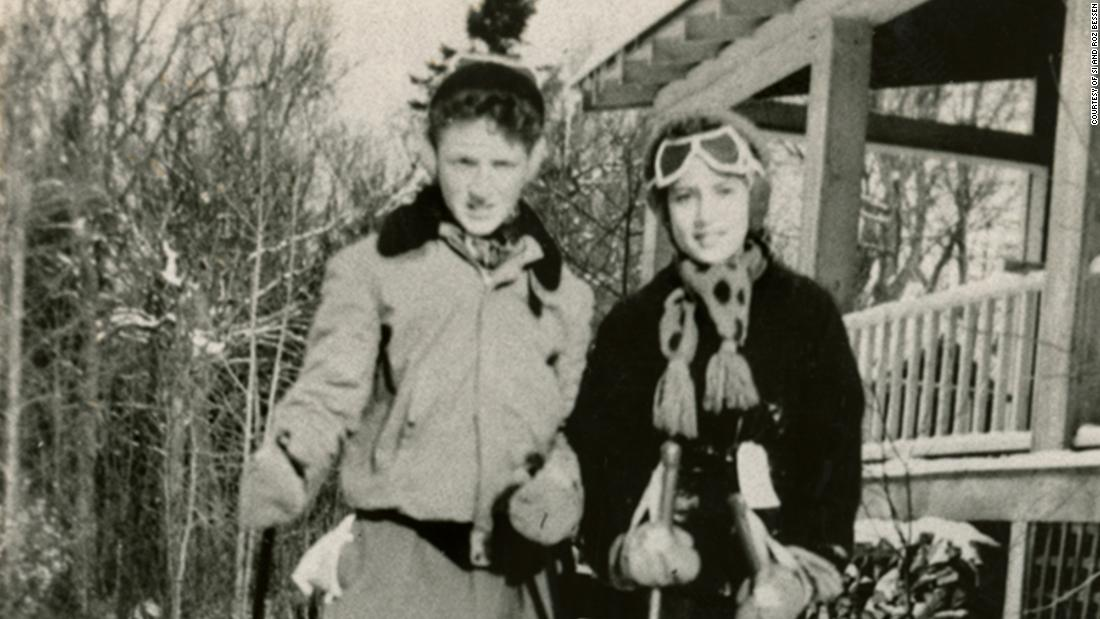 Ginsburg and her cousin Richard ski at a lodge in the Adirondacks circa 1946.