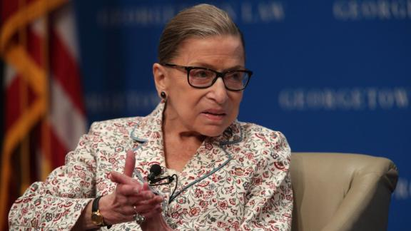 In this file photo, Justice Ruth Bader Ginsburg participates in a discussion at Georgetown University Law Center July 2, 2019 in Washington, DC. The Georgetown University Law Center