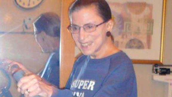 "Ginsburg wears a ""Super Diva"" sweatshirt as she works out at the Supreme Court in August 2007."