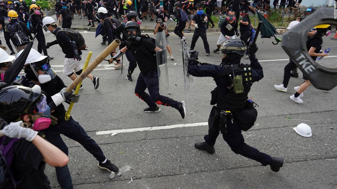 Protesters and police clash on Saturday, August 24.