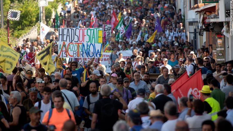 Protesters march in Hendaye, 30 kilometers south of the G7 gathering in Biarritz.