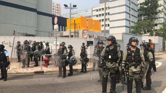 Riot police gather near a protest in Kwun Tong, Hong Kong, on August 24, 2019.