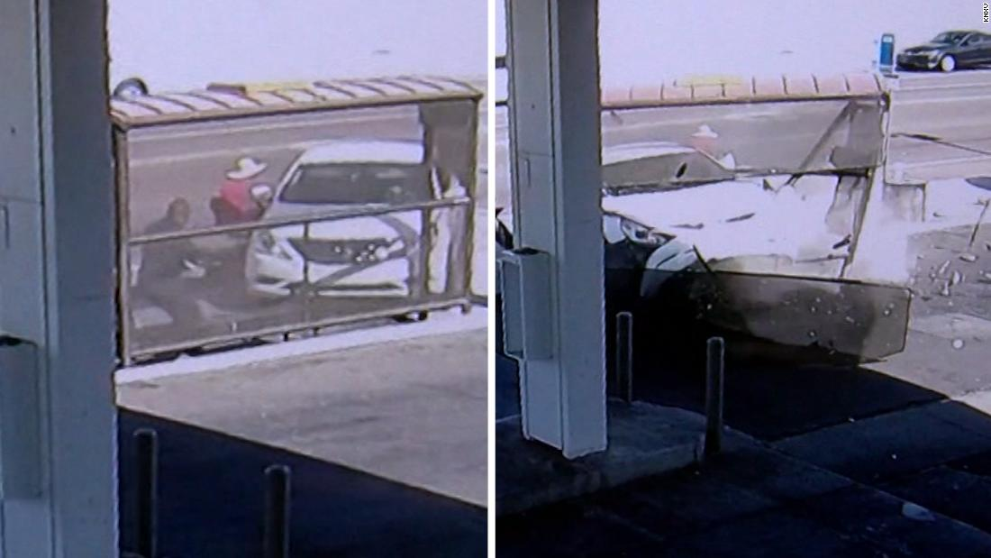Car crash misses woman in a wheelchair by inches