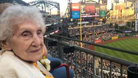 Catherine Kyle's family surprised her with a Pirates ballgame to celebrate her 99th birthday.