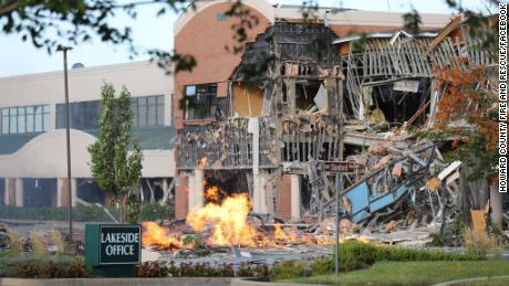 A gas explosion at a shopping center in Columbia, Maryland, caused the front of an office building to collapse.