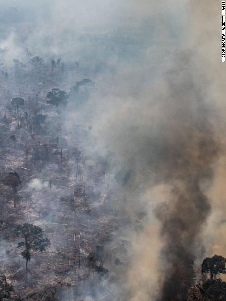 PORTO VELHO, RONDONIA, BRAZIL - AUGUST 25:  In this aerial image, A fire burns in a section of the Amazon rain forest on August 25, 2019 in Porto Velho, Brazil. According to INPE, Brazil's National Institute of Space Research, the number of fires detected by satellite in the Amazon region this month is the highest since 2010.  (Photo by Victor Moriyama/Getty Images)