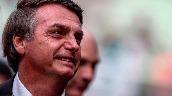 SAO PAULO, BRAZIL - JULY 27: President of Brazil Jair Bolsonaro looks on before a match between Palmeiras and Vasco for the Brasileirao Series A 2019 at Allianz Parque on July 27, 2019 in Sao Paulo, Brazil. (Photo by Miguel Schincariol/Getty Images)