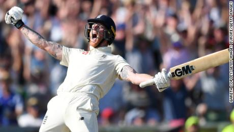 Ben Stokes reacts after hitting the winning runs to seal an incredible win for England.