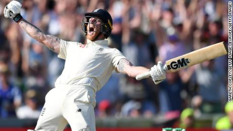 LEEDS, ENGLAND - AUGUST 25: Ben Stokes of England celebrates hitting the winning runs to win the 3rd Specsavers Ashes Test match between England and Australia at Headingley on August 25, 2019 in Leeds, England. (Photo by Gareth Copley/Getty Images)