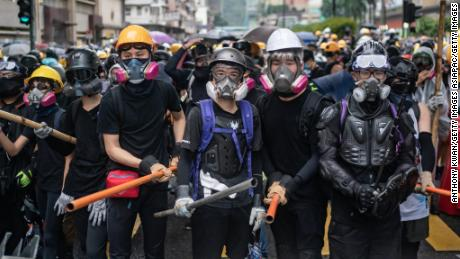 Protesters standoff with police during a clash at an anti-government rally in Tsuen Wan district on August 25, 2019 in Hong Kong.