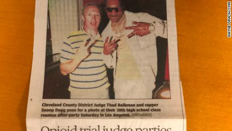 Thad Balkman was class president of Long Beach Poly High in 1989. One of his classmates was Snoop Dogg. The judge keeps a newspaper clip about the two of them meeting up at their 30th class reunion.