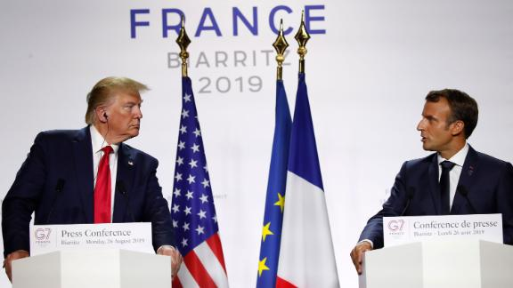 French President Emmanuel Macron, right, and U.S President Donald Trump attend the final press conference during the G7 summit Monday, August 26, 2019 in Biarritz, southwestern France.