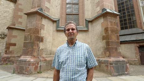 Pastor Retired Christoph Wonberger Outside Church