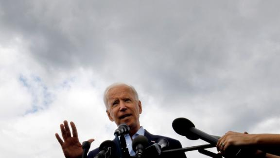 Democratic presidential candidate former Vice President Joe Biden speaks to reporters after a campaign stop at Lindy's Diner in Keene N.H., Saturday, August 24, 2019.