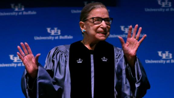 Supreme Court Associate Justice Ruth Bader Ginsburg speaks about her work and gender equality following a ceremony where she received a SUNY Honorary Degree from the University at Buffalo, Monday, August 26, 2019, in Buffalo, New York.