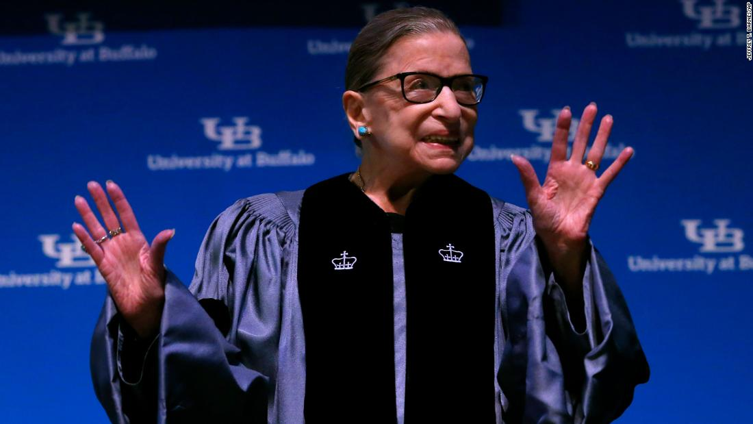 "Ginsburg makes her first public appearance since it was announced in August 2019 that she had undergone recent treatment for pancreatic cancer.  While accepting an honorary degree from the University at Buffalo, <a href=""https://www.cnn.com/2019/08/26/politics/ruth-bader-ginsburg-health/index.html"" target=""_blank"">she made remarks</a> and briefly referenced her health."