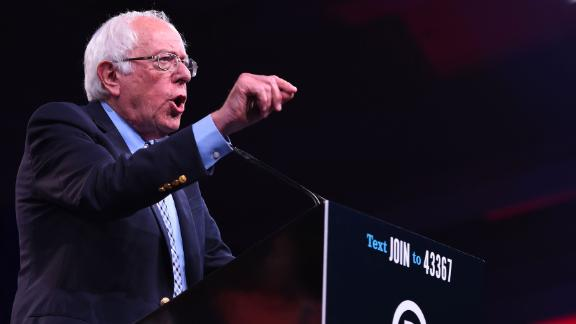 2020 US Democratic Presidential hopeful US Senator for Vermont Bernie Sanders speaks on-stage during the Democratic National Committee