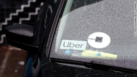 The Uber logo is displayed on a car on March 22, 2019 in San Francisco, California.