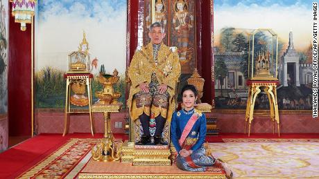 This gift from Thailand at the Royal Office shows Thailand's King Maha Vajiralongkorn with the Royal Noble Consort Sineenat Wongvajirapakdi.