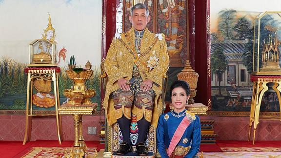 This undated handout from Thailand's Royal Office shows Thailand's King Maha Vajiralongkorn with Royal Noble Consort Sineenat Wongvajirapakdi.