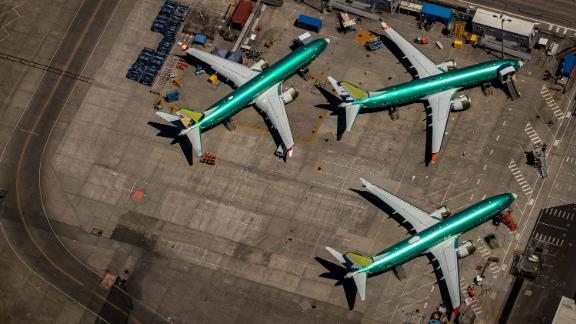 Editorial use onlyMandatory Credit: Photo by GARY HE/EPA-EFE/Shutterstock (10343249d)Boeing 737 Max 8 aircraft in production sit parked at the Boeing Renton Factory in Renton, Washington, USA, 21 July 2019. The Boeing 737 Max 8 was grounded by aviation regulators and airlines around the world in March 2019 after 346 people were killed in two crashes.Boeing 737 Max grounded in Washington, Renton, USA - 21 Jul 2019