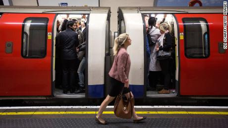 Commuters travel on the Northern Line of the London Underground on April 29, 2014 in London, England.
