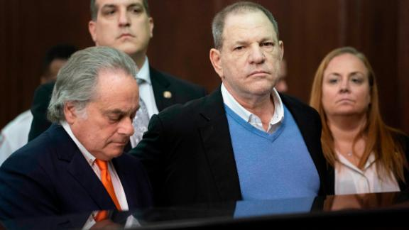 Harvey Weinstein (right) appears in Manhattan Criminal Court on May 25.