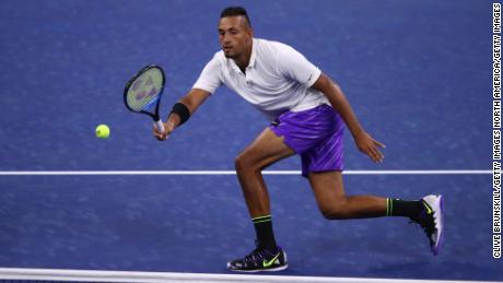 Nick Kyrgios defeated Steve Johnson in the first round of the US Open.