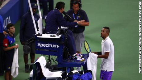 Kyrgios confronts umpire Keothavong at the Louis Armstrong Stadium
