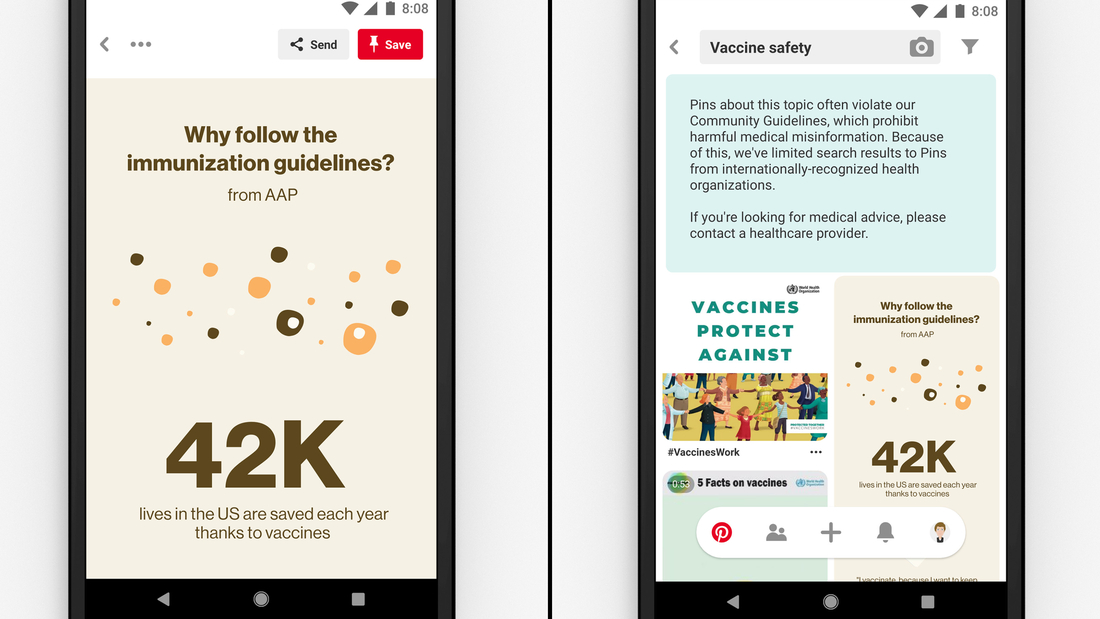 Pinterest searches related to vaccines will only return content from public health organizations.