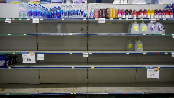 Empty shelves at a supermarket in Patillas, Puerto Rico, on August 28.