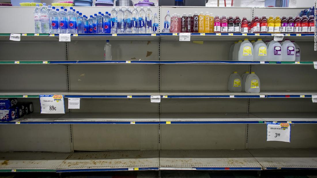 Empty shelves are seen at a supermarket in Patillas, Puerto Rico, on August 28.