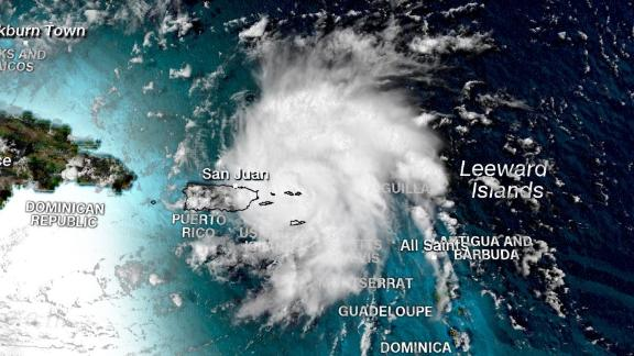 A satellite image shows Tropical Storm Dorian shortly before 2 p.m. ET Wednesday.