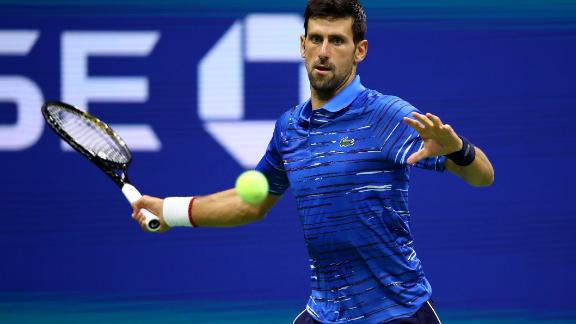 NEW YORK, NEW YORK - AUGUST 28: Novak Djokovic of Serbia returns a shot during his Men's Singles second round match against Juan Ignacio Londero of Argentina on day three of the 2019 US Open at the USTA Billie Jean King National Tennis Center on August 28, 2019 in the Flushing neighborhood of the Queens borough of New York City.  (Photo by Clive Brunskill/Getty Images)